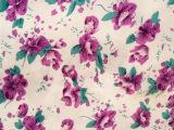 化纤面料厂家直销 大朵浪漫紫色花印花布 宿舍遮光窗帘布仿棉面料