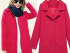 秋冬新款女装修身大衣女翻领单排扣羊毛呢子纯色中长款风衣外套女
