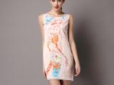 2015欧美风新款女装连衣裙时尚卡通人物蕾丝镶边A字裙批发