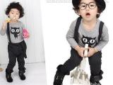 2014新款童春装 男女童纯棉猫咪T恤+背带裤2件套装广州童装