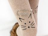 爆款秋冬新款批发棉针织可爱猫脸提花踩脚裤袜女士打底踩脚裤袜子