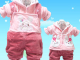 婴儿棉衣背带裤套装新生儿衣服春秋装外出服女宝宝棉衣2件套