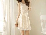 2014春装韩版修身圆领新款 蕾丝 背心 雪纺连衣裙