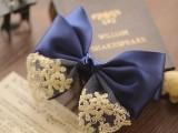 梅子发饰韩版手工发夹顶夹学院风蕾丝蝴蝶结发饰盘发发卡蓝色头饰