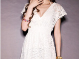 新款 半透明深V领 性感蕾丝短袖连衣裙