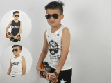 2015夏季童装新款韩版纯棉背心中小学生透气印花T恤虎门厂家直销