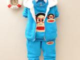 秋冬新款童套装 男女儿童韩版童装 0-4岁宝宝加厚加绒卫衣三件套