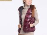 专柜正品 Etan/艾格周末羽绒背心 女装两面穿羽绒服马甲马夹背