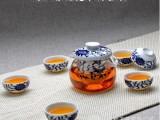 玻璃茶具 茶具批发 玻璃手抓壶 青花瓷 耐热玻璃茶器 整套茶具