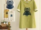 日系森女系 卡通猫头鹰图案袖口钩花中长款t恤夏季 外贸棉麻女装