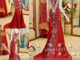 2015新款外贸婚纱礼服批发 韩版奢华新娘结婚婚礼敬酒晚礼服定制