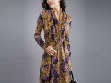 【芭碧尔】欧美碎花V领修身秋冬针织羊毛连衣裙有大码显瘦