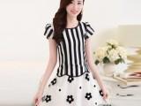 2014新款韩版小香风假两件黑白条纹短袖公主裙连衣裙