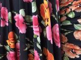 2014出品大花朵花色水晶麻布料针织弹力布料不打皱连衣裙高档面料