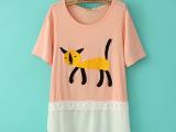 2014夏季女装新款T恤 韩版小猫拼接雪纺下摆短袖纯棉t恤女