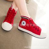 新款2014夏季时尚休闲韩版高帮平底帆布学生女运动鞋系带女鞋板鞋