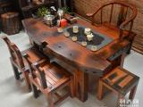 绵阳市老船木茶桌椅子仿古茶台实木沙发茶几餐桌办公桌家具博古架