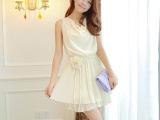 2014夏装韩版新款女装小清新百褶裙纯色雪纺无袖连衣裙