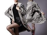 欧洲站2014秋冬女装抽象人物蝙蝠袖宽松长款开衫针织衫外套潮