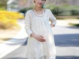 孕妇装春装 春季时尚韩版蕾丝孕妇连衣裙 新款大码宽松孕妇裙
