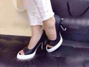 经典黑白配欧美女士休闲鞋 大牌头层里外真皮女士高跟鞋一件代发