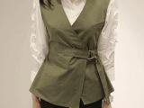 2015春夏女士马甲新品 修身纯棉腰带开衫背心 韩版纯色无袖外套