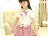 夏季新款童装 韩版珍珠吊坠女童套裙衫 中小童裙子品牌一件代发