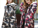 2014加厚迷彩棉衣女中长款 新款棉服冬装韩版潮毛领外套修身棉袄