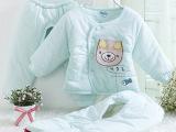 憨豆龙品牌宝宝包脚棉衣新生儿婴儿三件套装棉服儿童保暖加厚棉袄