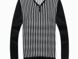 1709批发代发 2014男士毛衣 韩版条纹V领加厚套头毛衣针织