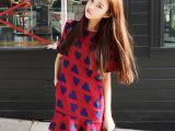 海派甜心Cherrykoko韩国代购 春红色荷叶边连衣裙子