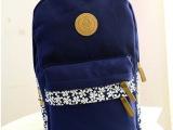 时尚休闲女包2014新款 韩版简约拼色帆布双肩包学生书包背包