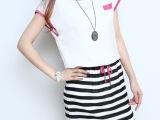 外贸原单女装2014新款中长款圆领撞色条纹拼接 松紧腰连衣裙
