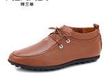 透气真皮休闲鞋流行豆豆鞋男士皮鞋正品英伦系带单鞋