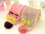 韩版儿童手工钩织图案猫咪卡通围巾