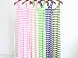 2014夏季新款连衣裙 拖地长裙女夏加长款背心裙 彩条莫代尔沙滩