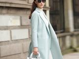 欧洲站2015秋冬新款纯手工双面羊绒风衣中长款羊毛大衣女厂家直销