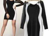 欧洲站秋季性感包臀修身通勤OL黑白拼接撞色长袖连衣裙 弹力短裙