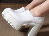 工厂直批欧洲站春季新款粗跟厚底单鞋超高跟真皮女鞋潮 一件代发
