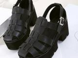 新款潮女鞋 韩国潮款大头圆头厚底女鞋黑色松糕鞋系带凉鞋