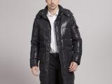 2014秋冬最新款男装  男士长款连帽羽绒服  黑色加长加厚男羽