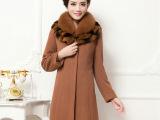 2014冬装新款 双排扣毛呢外套 英伦时尚修身纯色中长款毛呢大衣