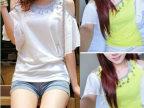 2014夏季新款时尚韩版潮流个性露肩荷叶短袖上衣小衫雪纺衫