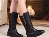 2013秋冬新款中筒靴真皮英伦马丁靴平底雪地靴厚底高筒长靴女靴子