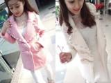 欧洲站2015春装新款毛呢外套 韩版修身镶钻钉珠时尚呢子大衣女装