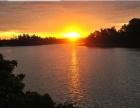 海口沙坡水库的日落金辉