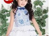 六一儿童表演出服纱裙幼儿蓬蓬公主青花瓷古装旗袍花童舞蹈连衣裙