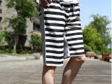 夏季韩版男式纯棉直筒休闲裤 修身显瘦条纹运动裤五分中裤沙滩裤
