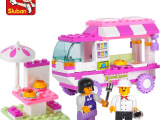 正品批发小鲁班积木粉色梦想0155女孩拼装快餐车儿童益智拼装玩具