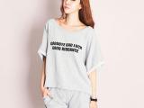 220#夏装新款韩版大码女装字母短袖t恤短裤运动套装休闲女